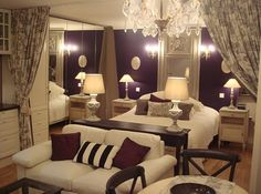 and again accept bigger! LOVE Toile, Cream, plum Crystal Chandelier, Wall Plaques and Sconces - B's room Parisian Inspiration