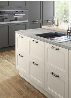 Landhausküche, Landhaus, Landhausstill, Weiße Küche, Weiß, Küchenfarbe,  Beton, Betonarbeitsplatte
