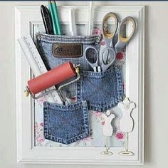 Hot glue pockets from old jeans into an empty frame (Instead of a picture put any scrapbook paper that you like) and hang it! Cute and simple idea! #diy - http://www.diysupplies.org/craftagram-2/hot-glue-pockets-from-old-jeans-into-an-empty-frame-instead-of-a-picture-put-any-scrapbook-paper-that-you-like-and-hang-it-cute-and-simple-idea-diy/
