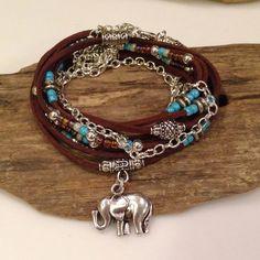 Boho Wrap, Gypsy Weap, Suede Beaded triple wrap bracelet-gypsy with Tibetan accents CUSTOM