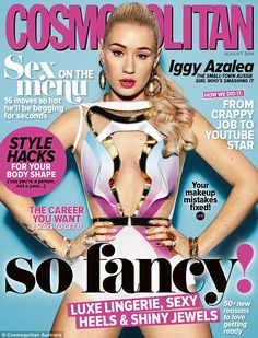 Cover girl: Iggy Azalea cuts a slightly slimmer figure as she graces the August cover of Cosmopolitan magazine