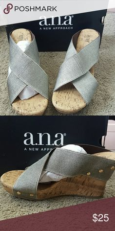 A.n.a Lexi wedge shoe (Never been worn) Gold bands and cork sole/wedge had gold stud details a.n.a Shoes Wedges
