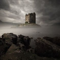 Stalker Castle, Scotland so cool with fog rising up!