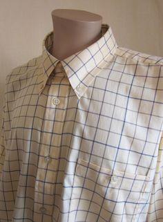 ORVIS Men's Yellow Blue Purple Beige Check Cotton Long Sleeve Shirt XXL 2XLarge #Orvis #ButtonFront