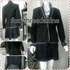 Fashioned jacket remix Black trimmed in white Dry clean only Size. Small Jackets & Coats Jean Jackets