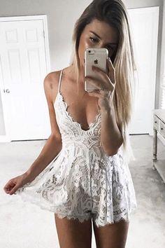 Stephanie Lace Mini Romper - White