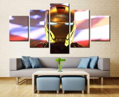 The Avengers Iron Man American Flag 5 Panel Canvas Wall Art Print Canvas Artwork, Canvas Frame, Canvas Wall Art, Custom Canvas Prints, Wall Art Prints, Framed Art, Marvel, American Flag, Iron Man