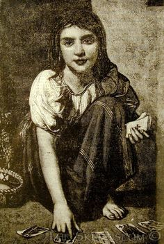 """""""A Fair Young Gypsy Fortune-Teller,"""" a page from Frank Leslie's Popular Monthly, n.d. (1882); wove paper, about 7½ x 10 inches. On the reverse, an article gives a verse narrative, """"a real story, told by a gypsy in Suffolk,"""" about the devil appearing in the form of a donkey. Referring variously to """"gypsies,"""" """"Roman Folk,"""" and """"Rommany folk,"""" the article concludes with a lament that, sometime in the future they may become an """"extinct race."""""""