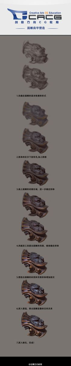 """Original painting tutorial - """"A sculpture in the round shoulder shape"""" drawing step _ fire . Digital Painting Tutorials, Digital Art Tutorial, Art Tutorials, Drawing Tutorials, Painting Process, Process Art, Painting Tips, Drawing Skills, Drawing Techniques"""