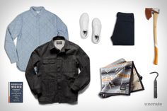Imogene + Willie Jack Utility Coat ($275). Penfield Heyden Quilted Shirt ($75). Nanamica Pant ($360). Best Made Hudson Bay Axe ($275). Tanner Goods Pendelton Saddle Blanket ($200). Vans Old Skool Sneakers ($50). Zippo Flex Neck Utility Lighter ($14). Norwegian Wood...