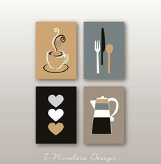 Modern Kitchen Art Prints Coffee Utensils Hearts Black Neutral White Grey Beige Kitchen Artwork Set of Unframed Prints or Canvas beauty black Kitchen Canvas Art, Kitchen Art Prints, Kitchen Artwork, Wall Art Prints, Framed Artwork, Diy Wall Art, Diy Art, Wall Art Decor, Mini Canvas Art