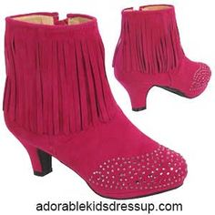 Fuchsia pink ankle boots for little girls. Adorable fashion for kids at www.adorablekidsdressup.com