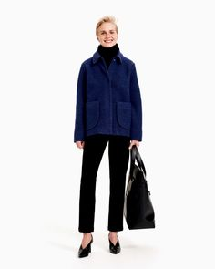 The unlined Sanoa coat is made of a boiled wool blend in dark blue. The coat has large patch pockets and in the front concealed snap button closure. Normal Body, Dark Blue Color, Blue Coats, Marimekko, Clothes For Sale, Wool Blend, Ready To Wear, Trousers, Normcore