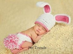 Baby Pink and White Rabbit Costume Hat Diaper Cover Outfit.  Newborn Baby Photography Photo Props on Etsy, £11.02