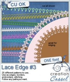 #Lace #Edge #3 - #Font - Create a variety of lace borders with this font. You get a total of 25 basic lace edge patterns.