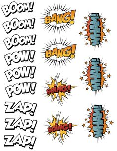 Create Your Own Comic Book Printable Sticker Set