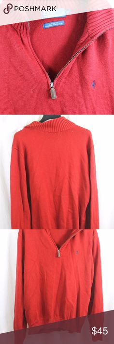 """POLO RALPH LAUREN RED 1/4 ZIP KNIT SWEATER XL SIZE:     XL  ARMPIT - TO - ARMPIT:     24""""  LENGTH DOWN BACK:     32""""  STYLE:     1/4 ZIP LIGHT KNIT PULLOVER  MATERIAL:     100% COTTON  CONDITION:        BRAND NEW WITHOUT TAGS. SOURCED DIRECTLY FROM A NATIONAL UPSCALE U.S. RETAILER. QUALITY AND AUTHENTICITY GUARANTEED!   42-119-G Polo by Ralph Lauren Sweaters"""