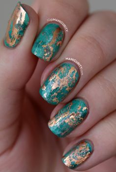Teal and gold foil nails