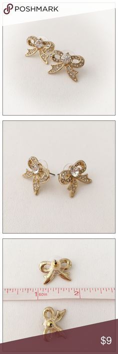 Cute Gold and Crystal Bow Earrings *New* Brand new, no tags.  Cute! Jewelry Earrings