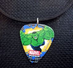 Hulk Guitar Pick and Black Suede Cord Necklace by ItsYourPick on Etsy