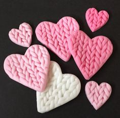 Set of 16 x edible icing knitted pink heart cupcake toppers cake decorations by ACupfulofCake on Etsy £15.00. Buy now for Valentine's Day!