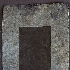 Blue Black is a traditional manuscript paper made for Tibetan Buddhist loose leaf books. The paper is layered resho made from the bark of de-nar, a high growing variety of lokta from the Himalayan forests of Eastern Bhutan. This is a sustainable and renewable resource. The paper is coated with ground lapis lazuli (a blue grey colour) and carbon. The carbon surface is hand burnished, traditionally for writing in gold or silver.
