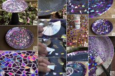 Use Old DVDs To Make A Mosaic Bird Bath diy gardening mosaic diy crafts do it yourself garden ideas