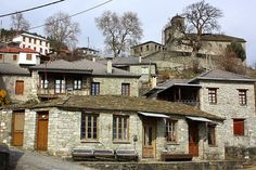 Pyrsogianni Village, Ioannina (near Konitsa). Greece Art, The Gr, Greece Holiday, House Doors, Police Station, Stone Houses, Town Hall, Great Pictures, Planet Earth