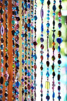 Purple Pink Turquoise and Amber Bohemian Beaded #beadedcurtain #suncatcher #beaddoorcurtain #beadwindowcurtain #windowbeads Beaded Door Curtains, Hanging Curtains, Window Curtains, Crystals And Gemstones, Crystal Beads, Glass Beads, Pink Turquoise, Turquoise Beads, Feng Shui