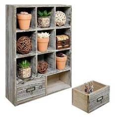 Amazon.com - Rustic Dark Brown Wood Shadow Box / Wall Mounted 9 Cubby Storage Rack with 2 Drawers & Label Holders -