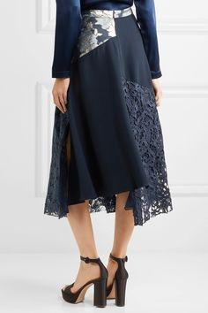 Biyan | Marine asymmetric paneled brocade, lace and crepe midi skirt | NET-A-PORTER.COM