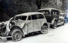 Lublin 1939. Zniszczone samochody w rejonie hotelu Europa