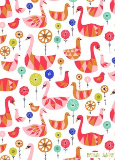 GEO SWANS, by UK based designer Bethan Janine creating fab patterns for textiles and wallpaper.