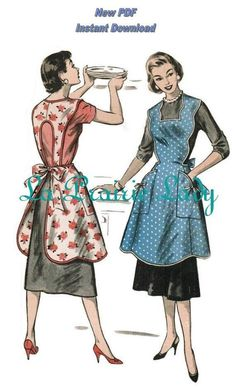 Vintage Full Apron PDF Pattern No 22 Available in M-L-XL from laprairielady on Etsy Studio Vintage Apron Pattern, Retro Apron, Aprons Vintage, Vintage Sewing Patterns, Retro Mode, Vintage Mode, Etsy Vintage, Pdf Patterns, Apron Patterns