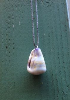 White Purple And Gold Hawaiian Cone Shell Long Grey Hemp Necklace