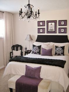 Tailored Romance, This room was decorated on a small budget. I made the headboard and painted the lamps, shades, chandelier, picture frames...
