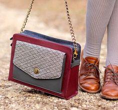 Satchel Vegan Leather Bag Shoulder Bag Burgundy by boejackdesigns