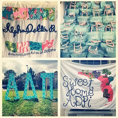 shirt /sheet banner inspiration for sweet home bid day theme - ADPi on Bid Day Sorority Bid Day, Sorority Recruitment, Sorority Life, Sorority Girls, Bid Day Themes, Home Themes, Kappa Delta, Alpha Chi, Theta