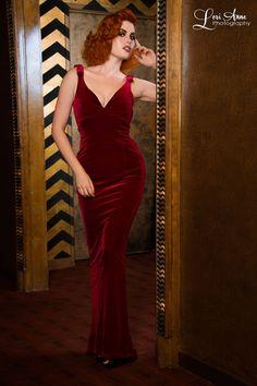 The Laura Byrnes Gilda Gown in Burgundy Velvet