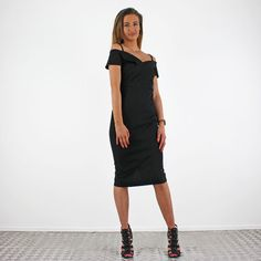 PinkCad Black Bodycon Off The Shoulder Bardot Style Midi Dress £22.00 Instore And Online WWW.PINKCADILLAC.CO.UK