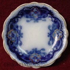 JOHNSON BROTHERS china OREGON flow blue GOLD ACCENT pattern