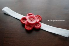 Handmade White and Pink Button Flower #Headband, Perfect accent for Valentine's Day!#dcbabybuttons #buttonart