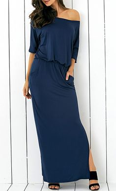 Pocket Side Slit Casual Fitted Maxi Dress Abiti Di Moda 81a13c38350