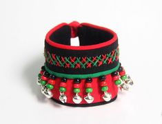 Ethnic style red/green cotton bangle bracelet with bells bracelet band