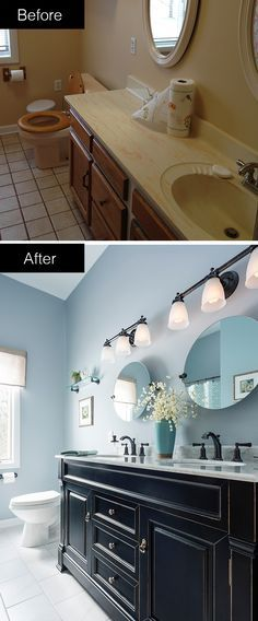 Take your bathroom from dull and drab to bold and beautiful. A striking vanity and fresh blue paint bring your bath into the 21st century - and bring you a taste of luxury. This bathroom was designed and remodeled through Lowe's of Macedon, New York.