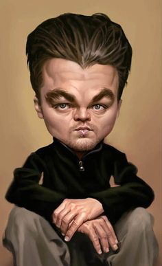 This is caricature Leonardo Di caprio. They caricature the gestures and expressions in the drawings, give them a fantastic array of character and personality.Leonardo Di caprio have a huge head. Cartoon Faces, Funny Faces, Cartoon Art, Funny Caricatures, Celebrity Caricatures, Celebrity Drawings, Leonardo Dicaprio, Caricature Art, Portrait Au Crayon