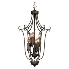 Showcasing a caged silhouette and rubbed bronze finish, this eye-catching pendant adds a striking touch to your foyer or living room.   ...