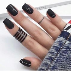 Have you heard of the idea of minimalist nail art designs? These nail designs are simple and beautiful. You need to make an art on your finger, whether it's simple or fancy nail art, it looks good. Of course, you may have seen many simple and beaut Matte Black Nails, Black Nail Art, Dark Nails, Gel Nails, Nail Polish, Toenails, Square Nail Designs, Black Nail Designs, Acrylic Nail Designs Classy