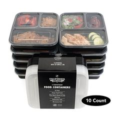 California Home Goods 3 Compartment Bento Reusable Food Storage Containers with Lids Set of 10 For Meal Prep 21 Day Fix * You can find more details at Healthy Life, Healthy Snacks, Healthy Eating, Healthy Recipes, Cheap Recipes, Vegetarian Recipes, Meal Prep Containers, Food Storage Containers, Box Storage