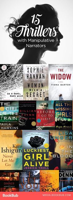 Must-Read Thrillers with Manipulative Narrators 15 thriller books to read, including psychological thrillers with plenty of suspense. If you love Gone Girl or The Girl on the Train, these are worth adding to your reading list. Books And Tea, I Love Books, My Books, Love Reading, Reading Lists, Book Lists, Reading Den, Reading Books, Girl Reading